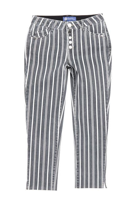 Image of Democracy AbSolution Striped High Waisted Crop Straight Leg Jeans