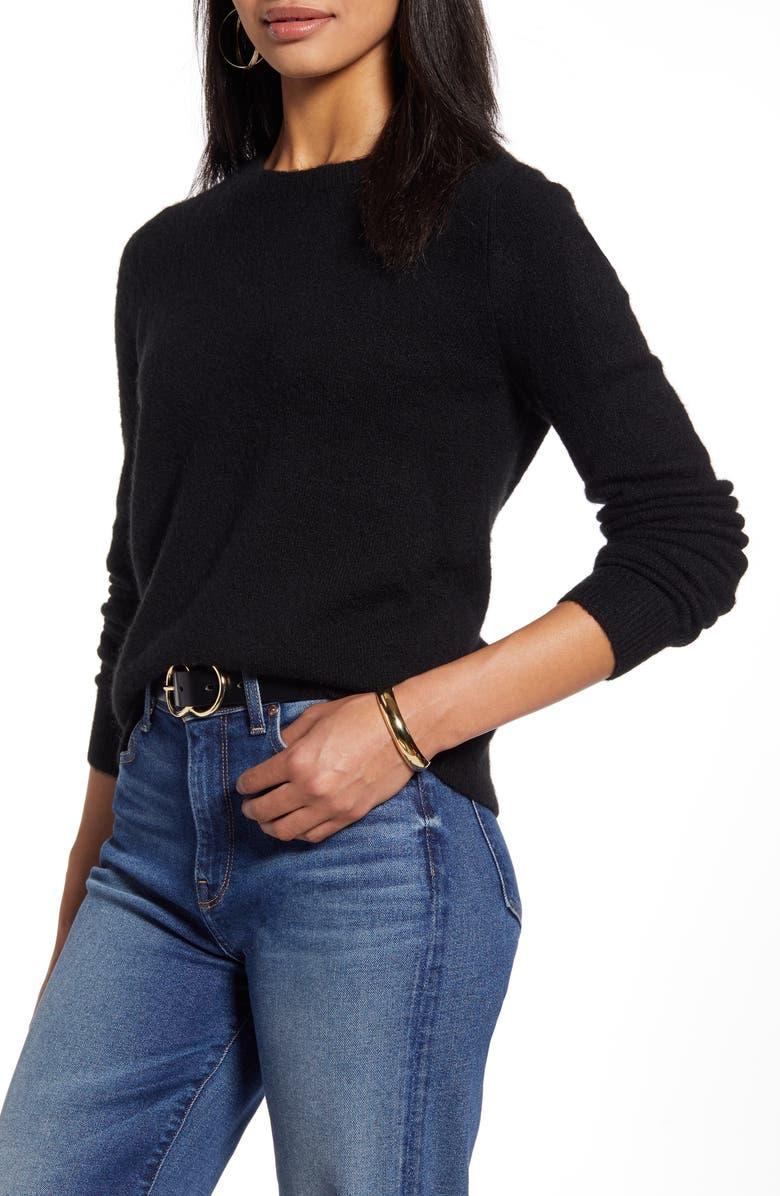 HALOGEN<SUP>®</SUP> Crewneck Pullover Sweater, Main, color, BLACK