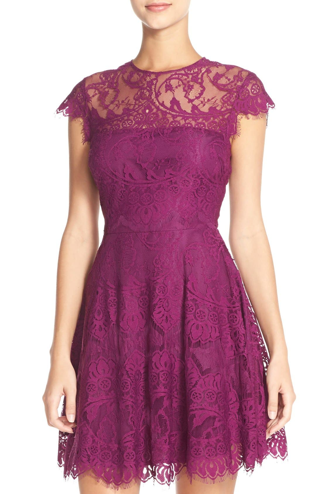 ,                             Rhianna Open Back Lace Fit & Flare Cocktail Dress,                             Alternate thumbnail 60, color,                             508
