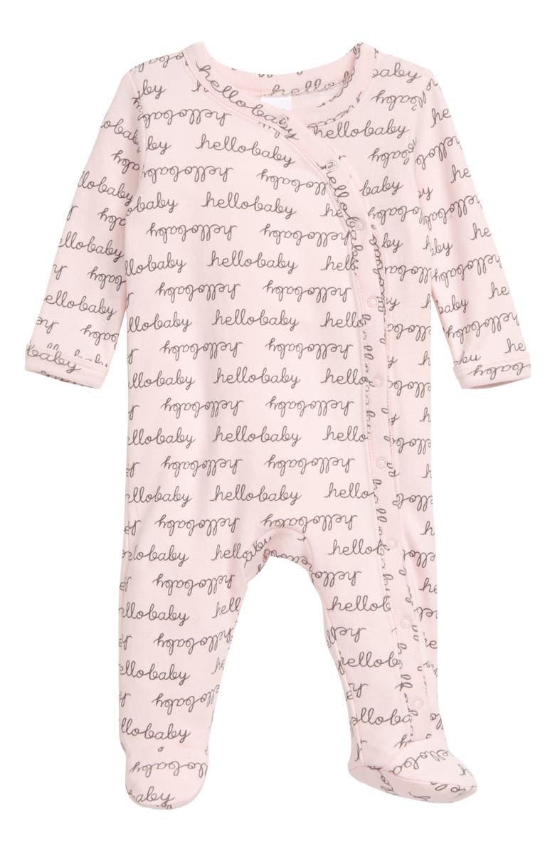 NORDSTROM BABY Print Footie, Main, color, PINK BABY HELLO