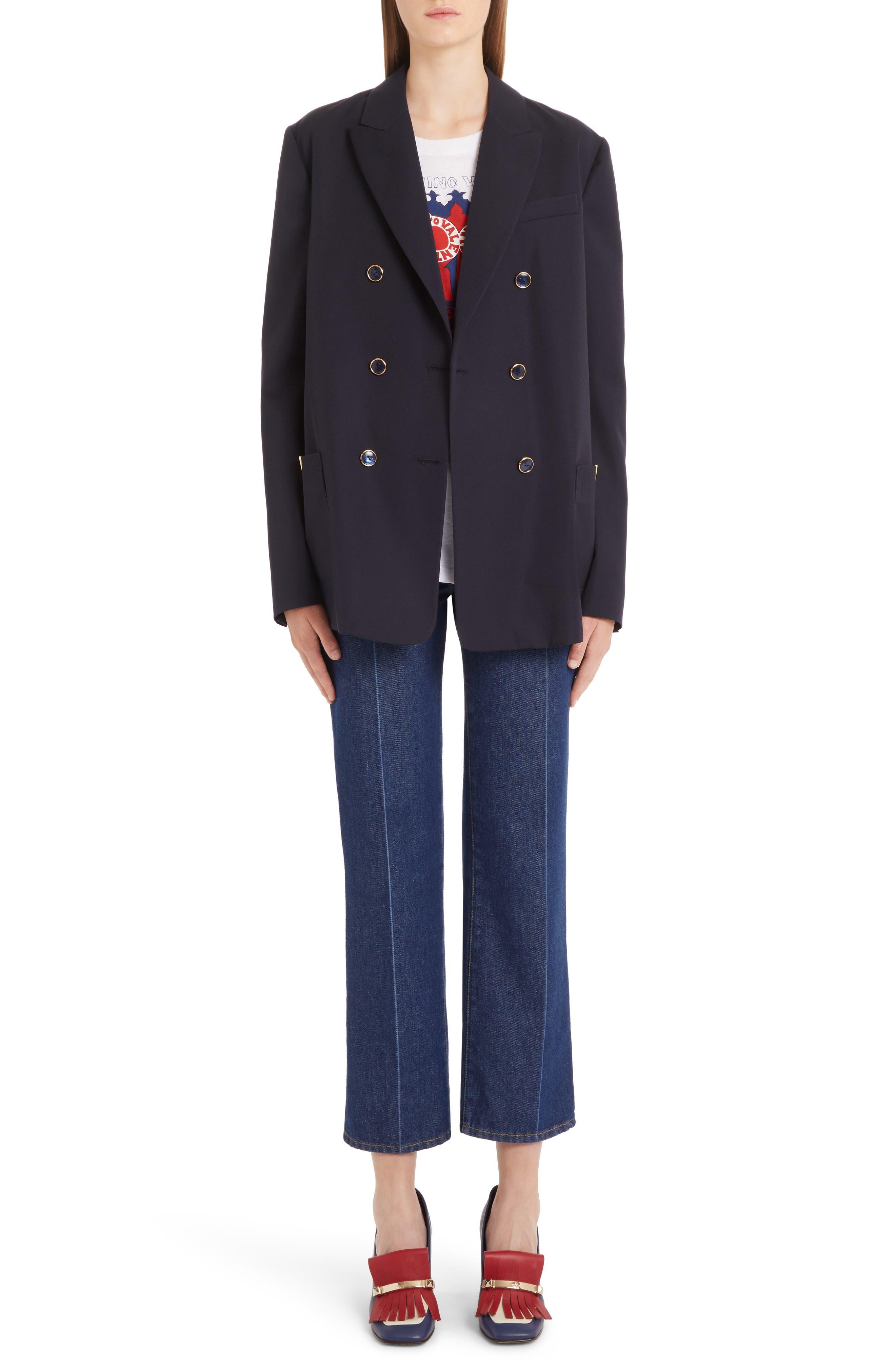 ,                             V-Detail Wool Gabardine Jacket,                             Alternate thumbnail 6, color,                             NAVY