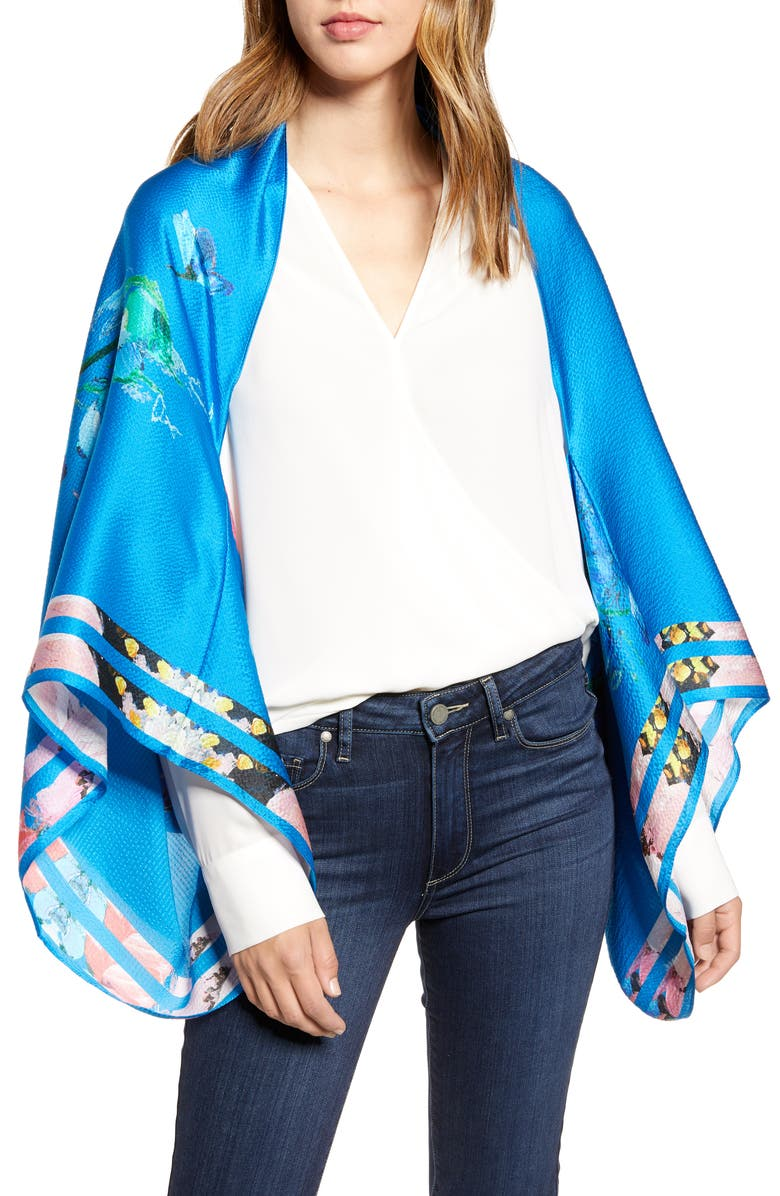 TED BAKER LONDON Raspberry Ripple Silk Cape Scarf, Main, color, BRIGHT BLUE