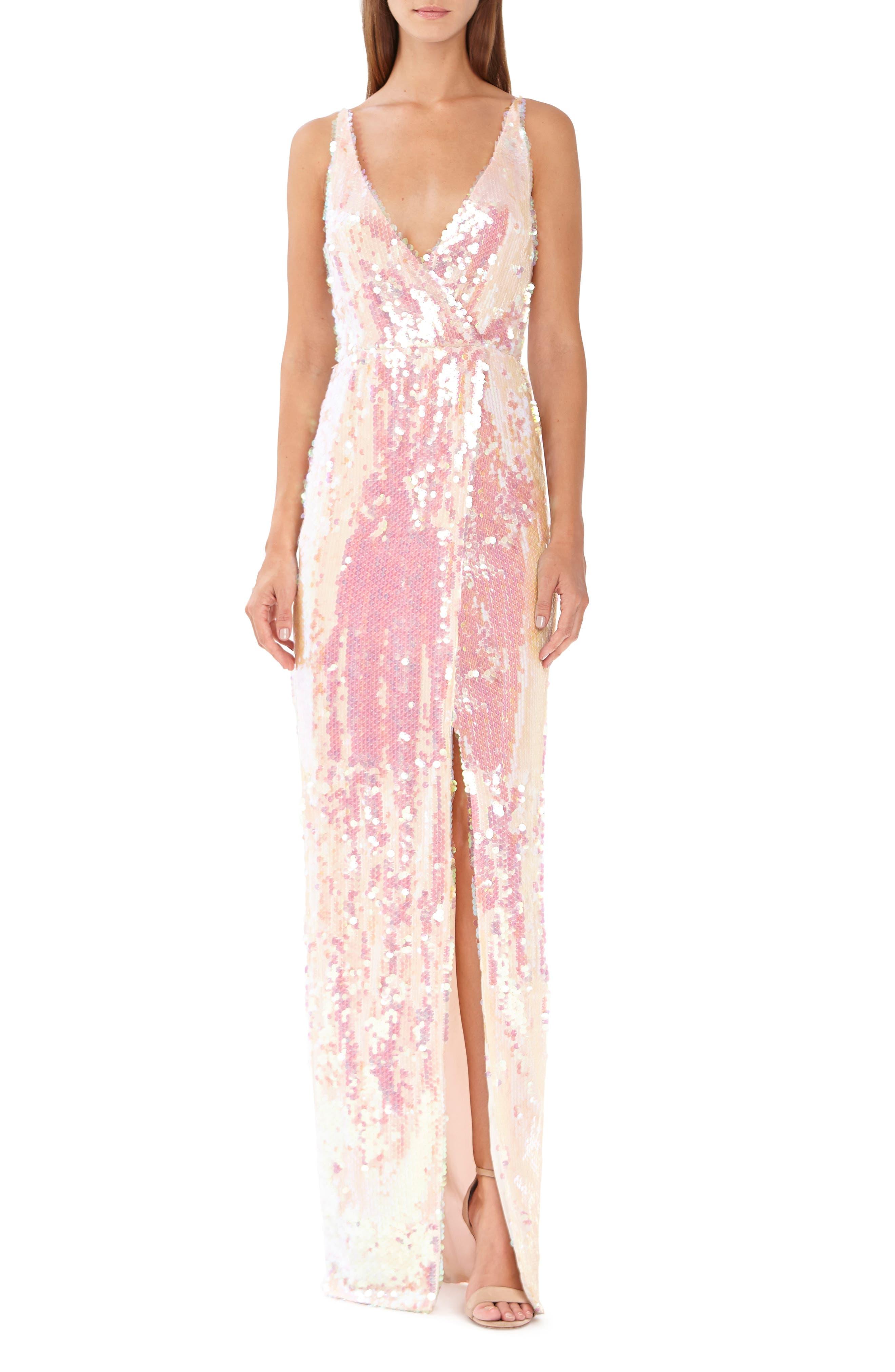 Ml Monique Lhuillier Sequin Surplice Column Gown, Pink