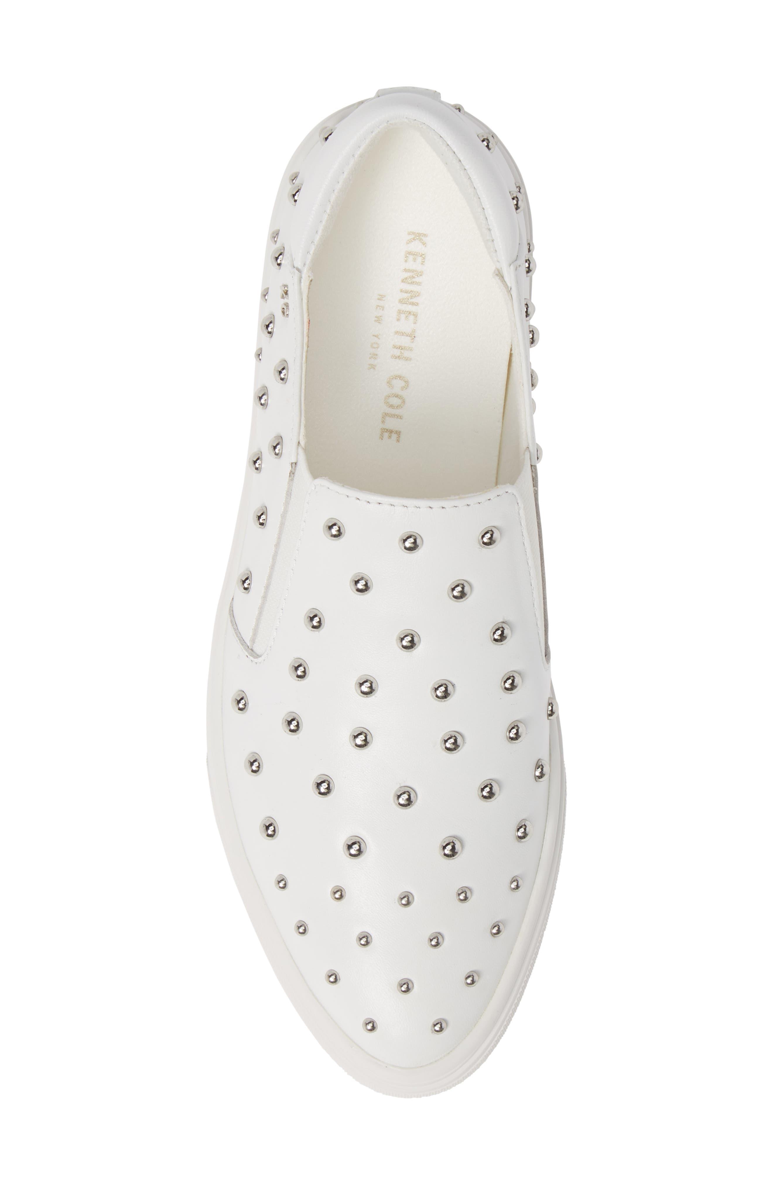 ,                             Mara Stud Slip-On Sneaker,                             Alternate thumbnail 5, color,                             WHITE LEATHER