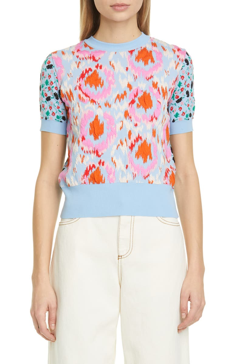 MARNI Mixed Jacquard Sweater, Main, color, IRIS BLUE
