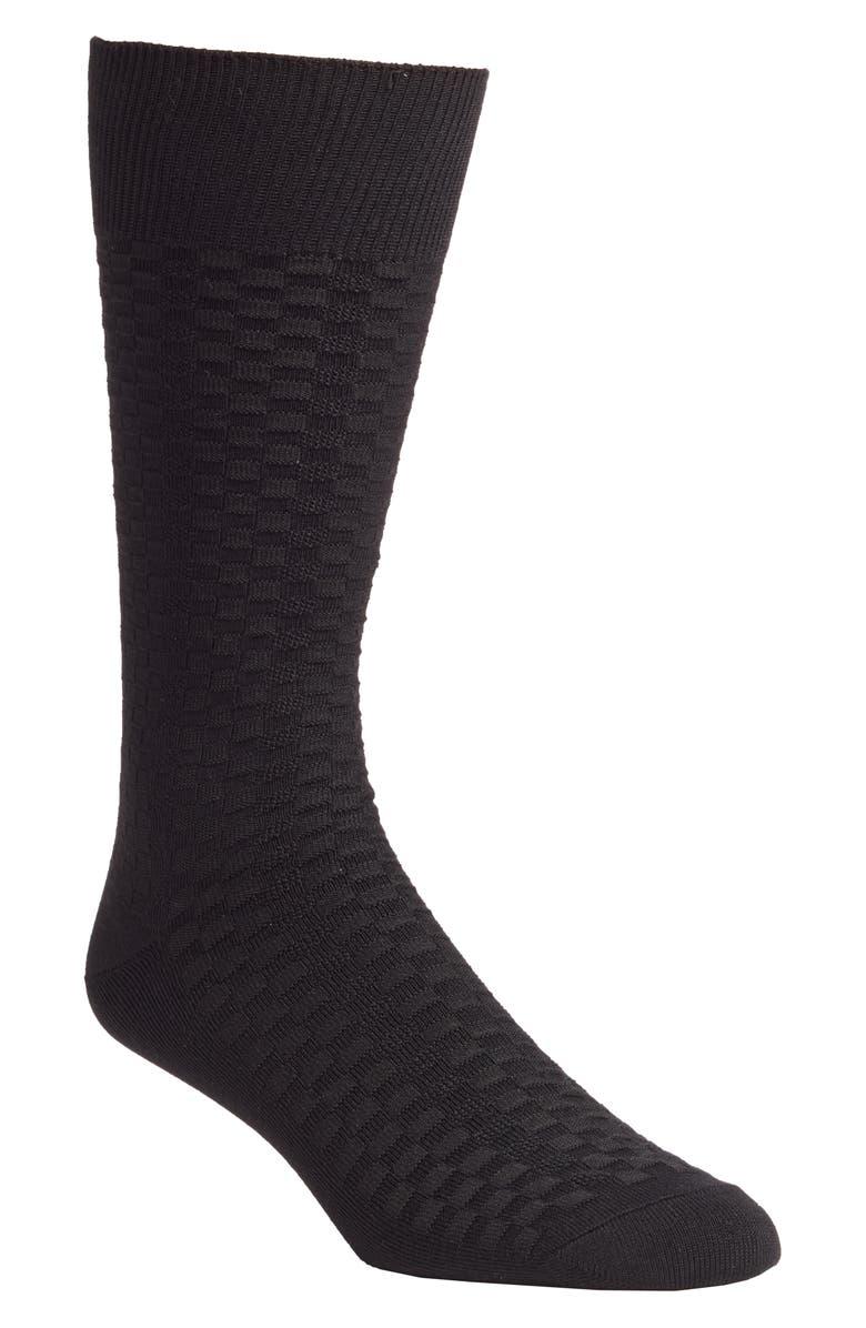 NORDSTROM MEN'S SHOP Mini Check Ultrasoft Dress Socks, Main, color, BLACK