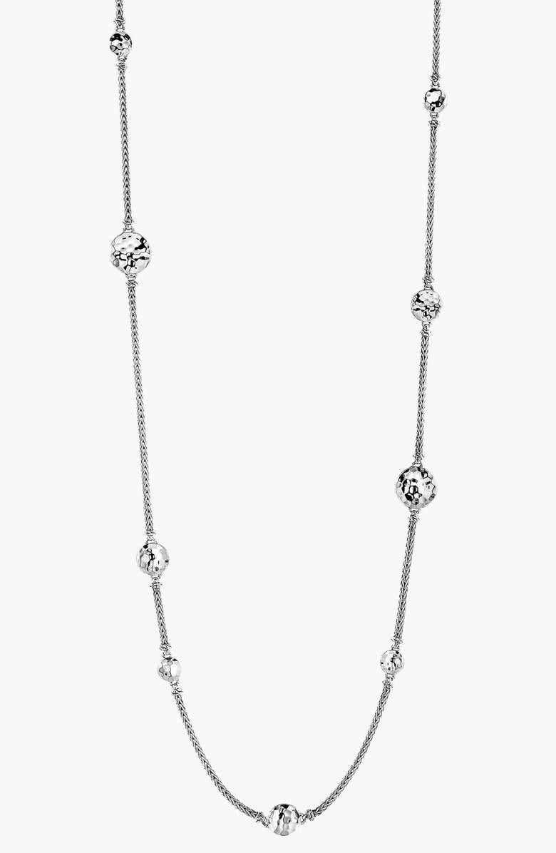 JOHN HARDY 'Dot' Long Station Necklace, Main, color, SILVER