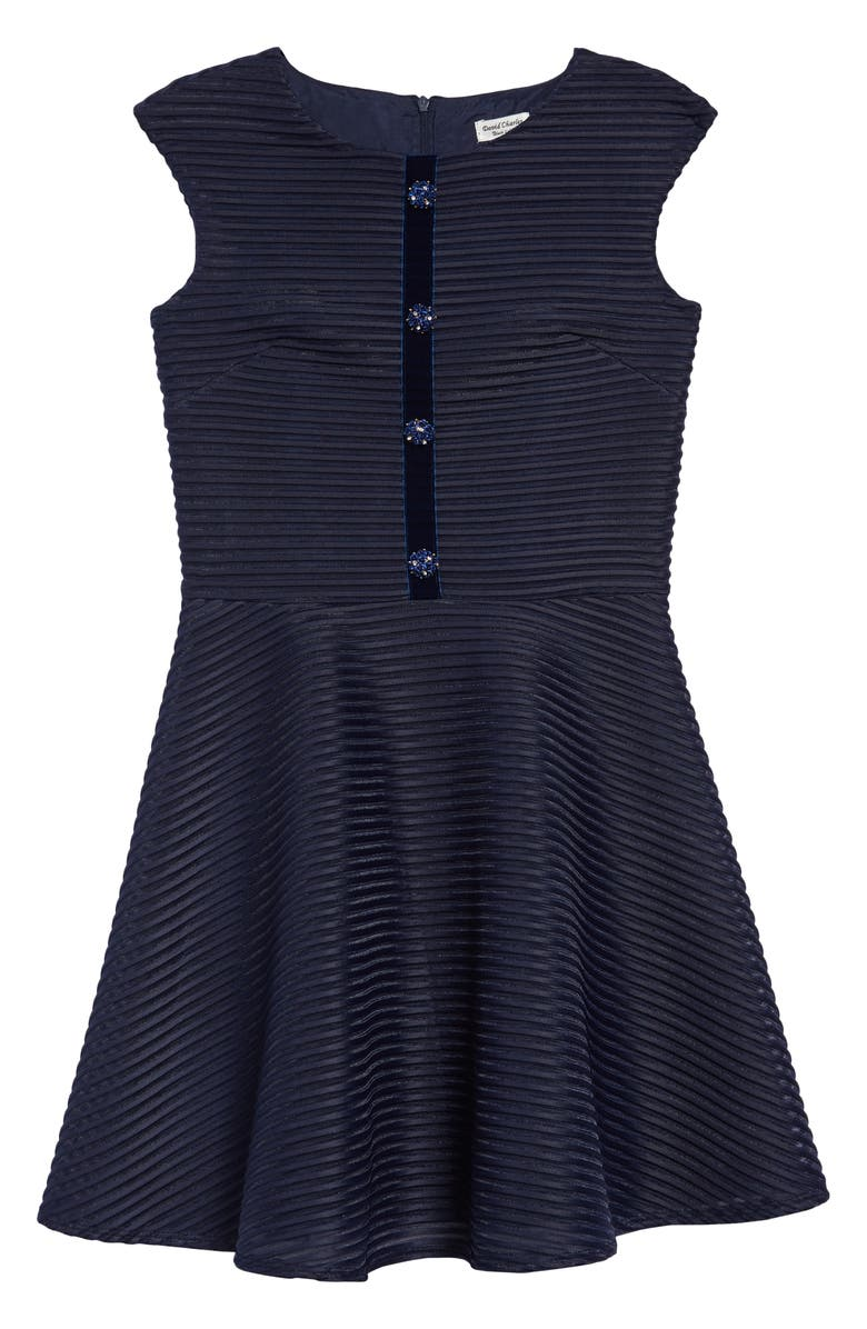 DAVID CHARLES Stripe Satin Fit & Flare Dress, Main, color, NAVY
