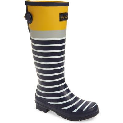 Joules Print Welly Waterproof Rain Boot, Blue