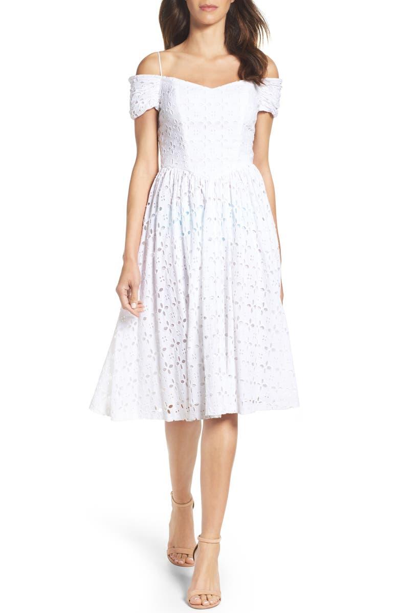 CHETTA B Off the Shoulder Midi Dress, Main, color, 105