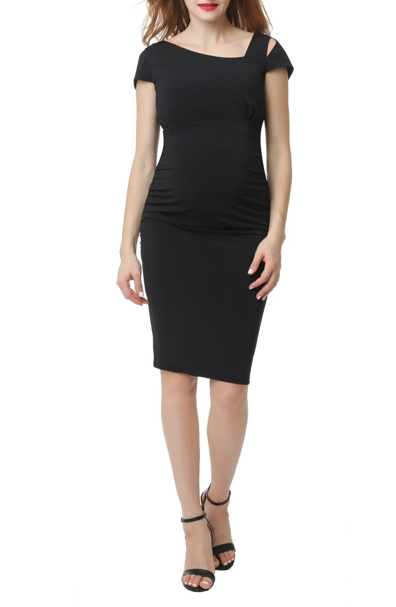KIMI AND KAI Mila Body-Con Maternity Sheath Dress, Main, color, BLACK