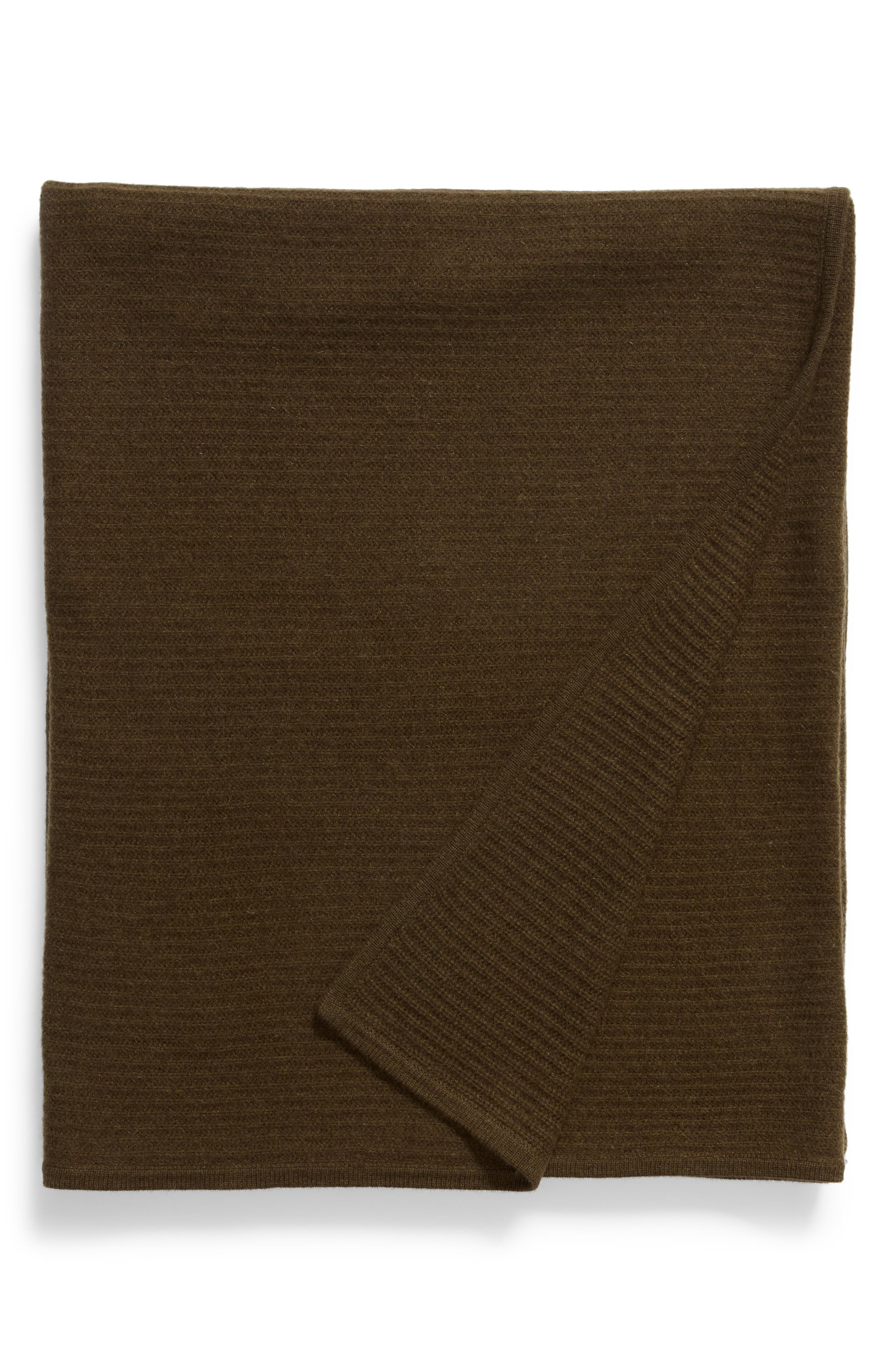 Ribbed Cashmere Throw, Main, color, OLIVE HEATHER