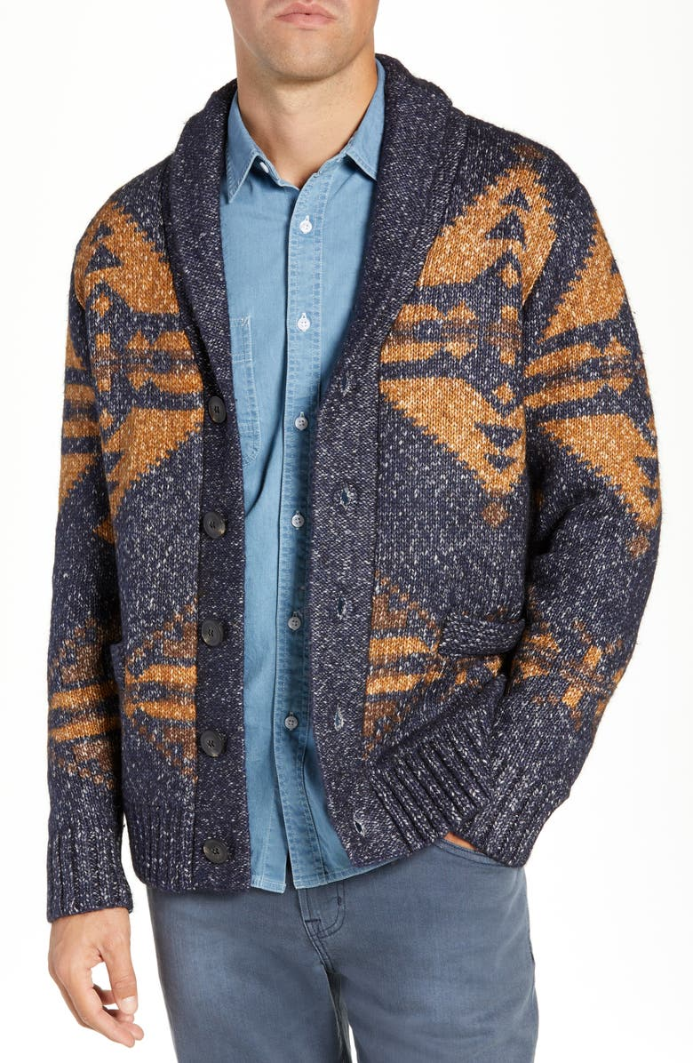 SCHOTT NYC Geo Pattern Cardigan, Main, color, NAVY