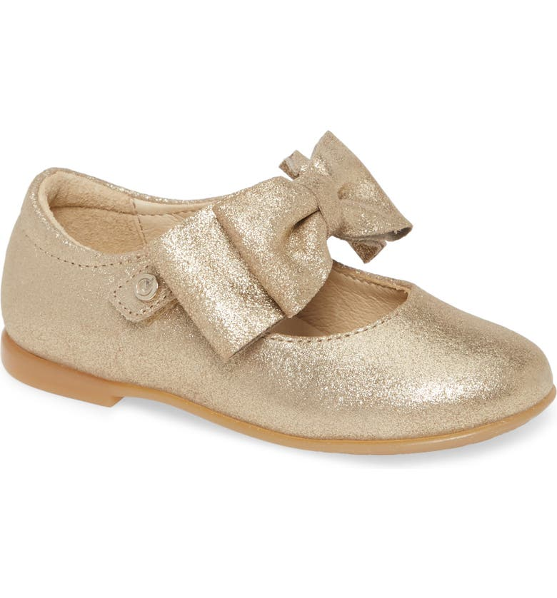 NATURINO Stresa Glitter Mary Jane Flat, Main, color, GOLD GLITTER SUEDE