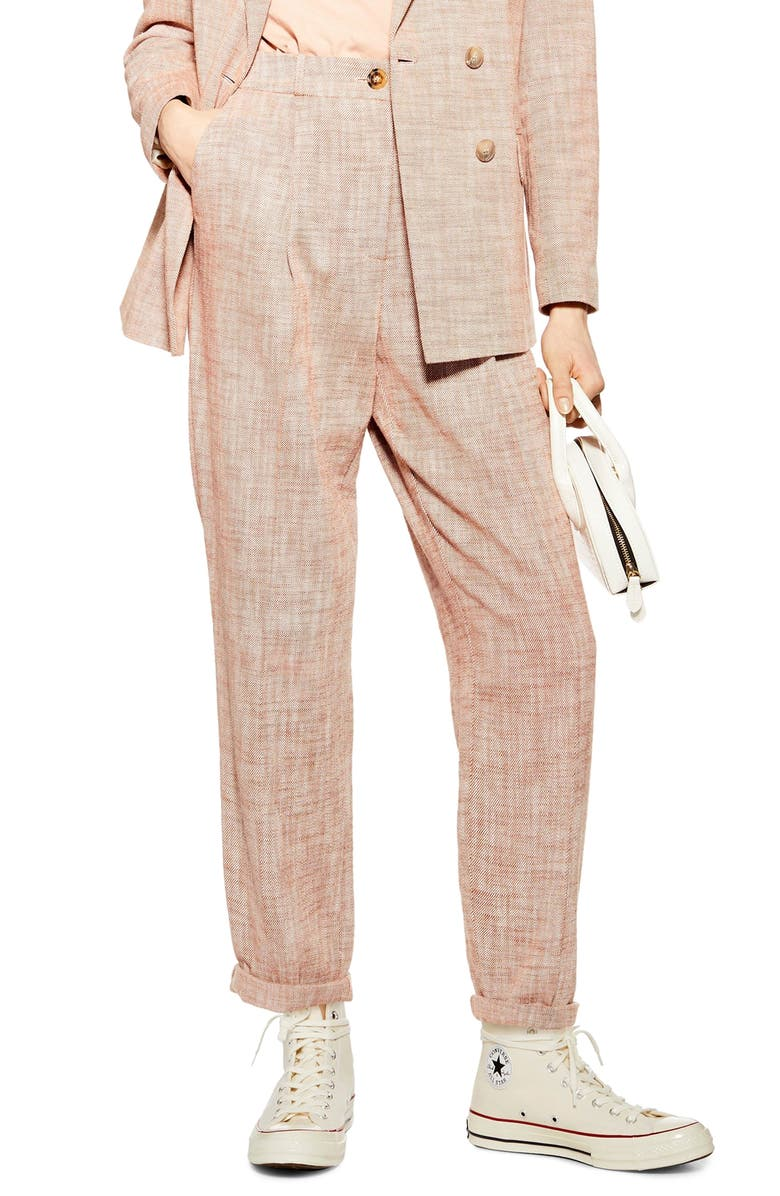 TOPSHOP Marl Peg Trousers, Main, color, RUST