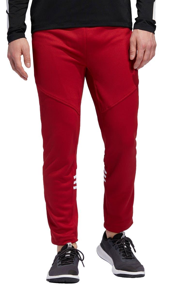 ADIDAS Daily 3-Stripe Track Pants, Main, color, ACTIVE MAROON
