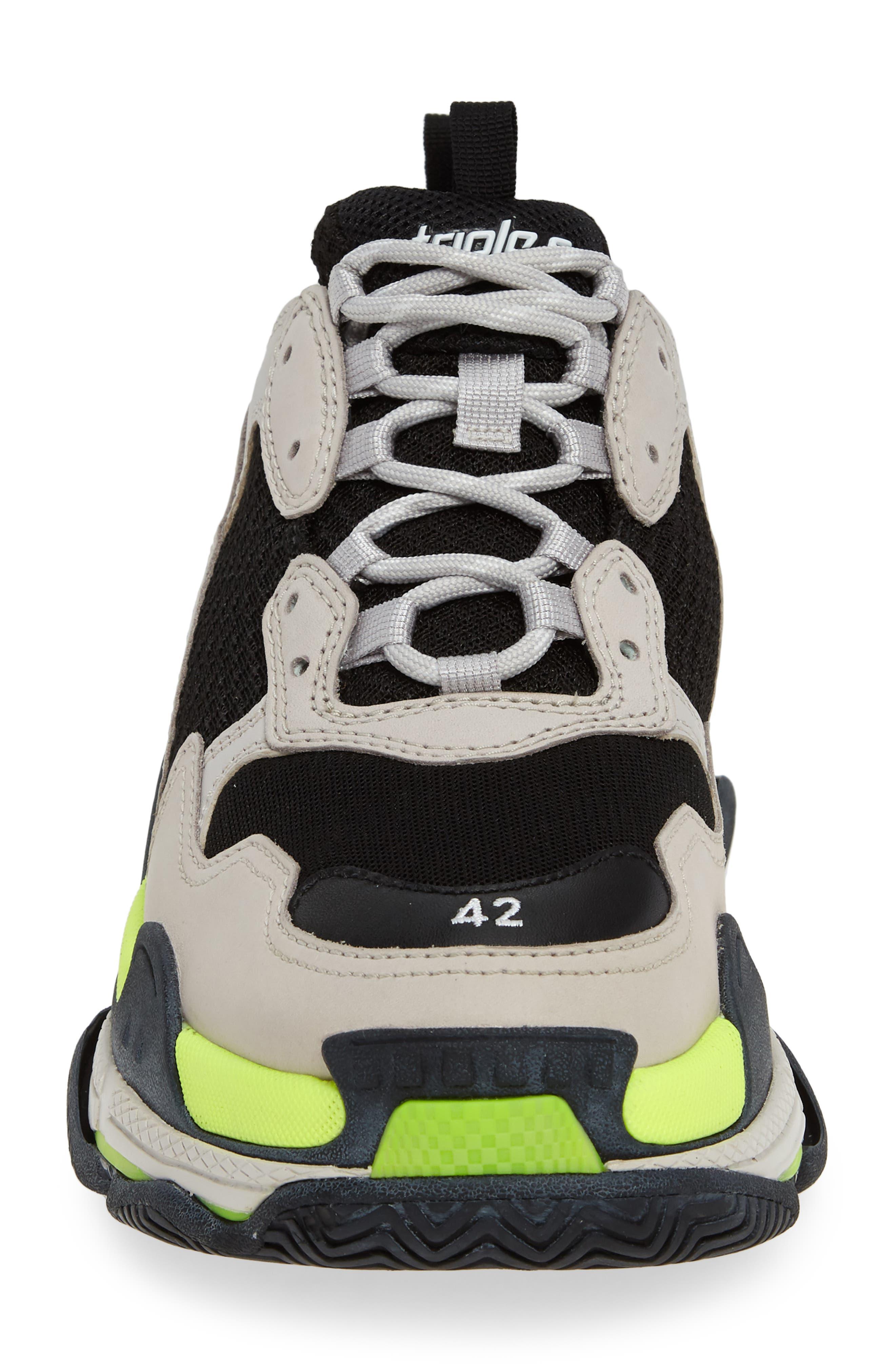 ,                             Triple S Retro Sneaker,                             Alternate thumbnail 4, color,                             GREY/ YELLOW FLUO