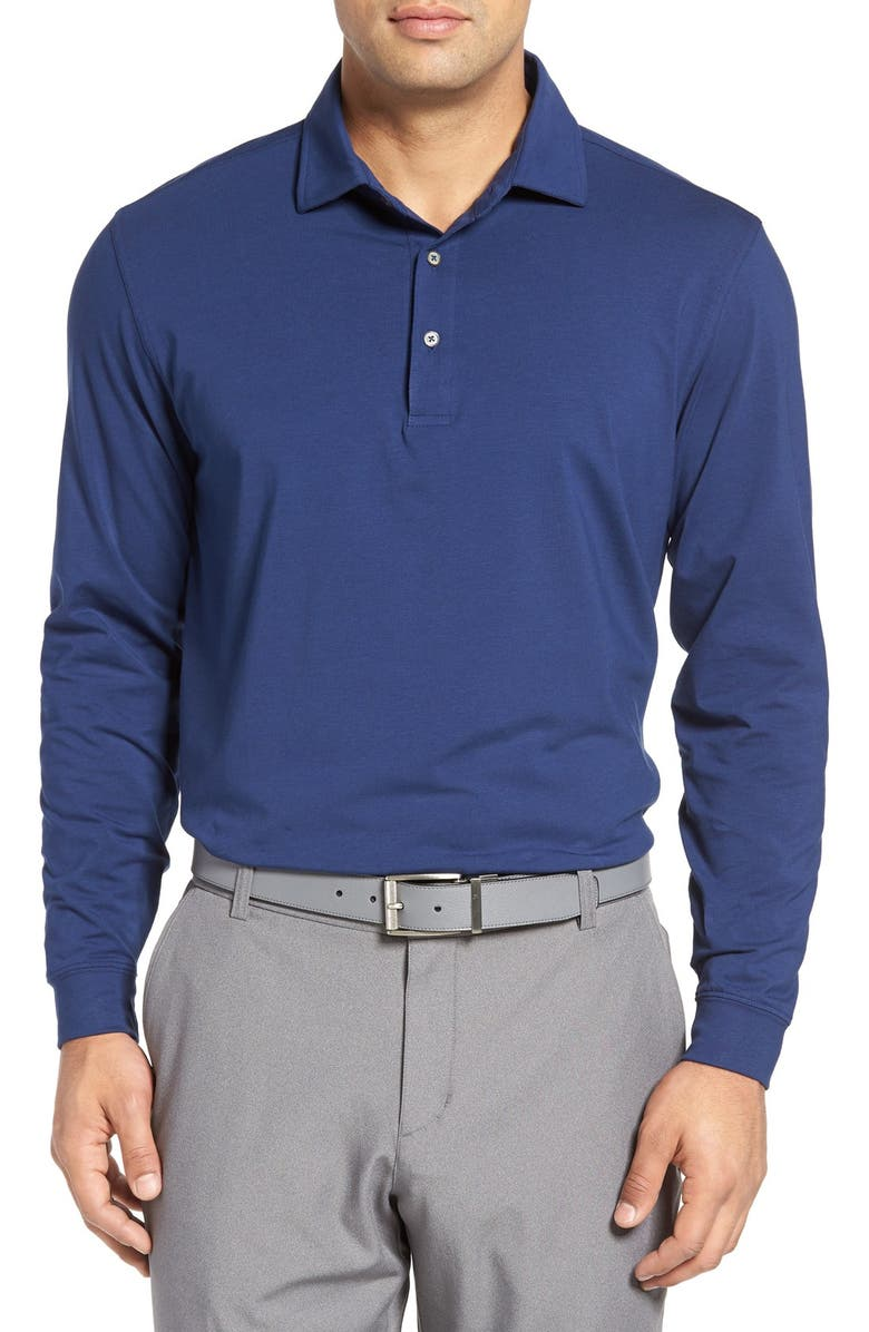 BOBBY JONES Liquid Cotton Long Sleeve Jersey Polo, Main, color, SUMMER NAVY
