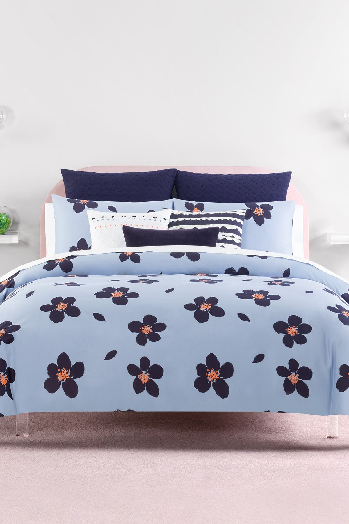 Image of kate spade new york blue grand floral twin xl comforter set