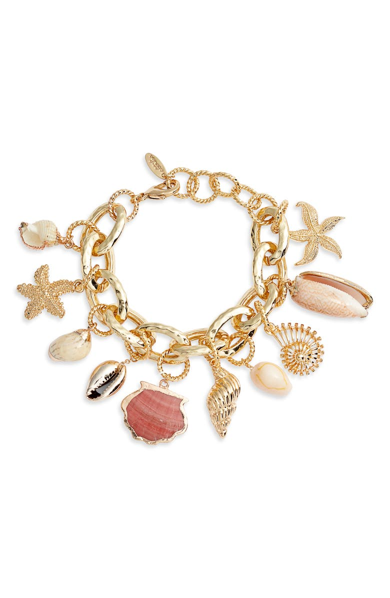 ETTIKA Shell Charm Bracelet, Main, color, GOLD