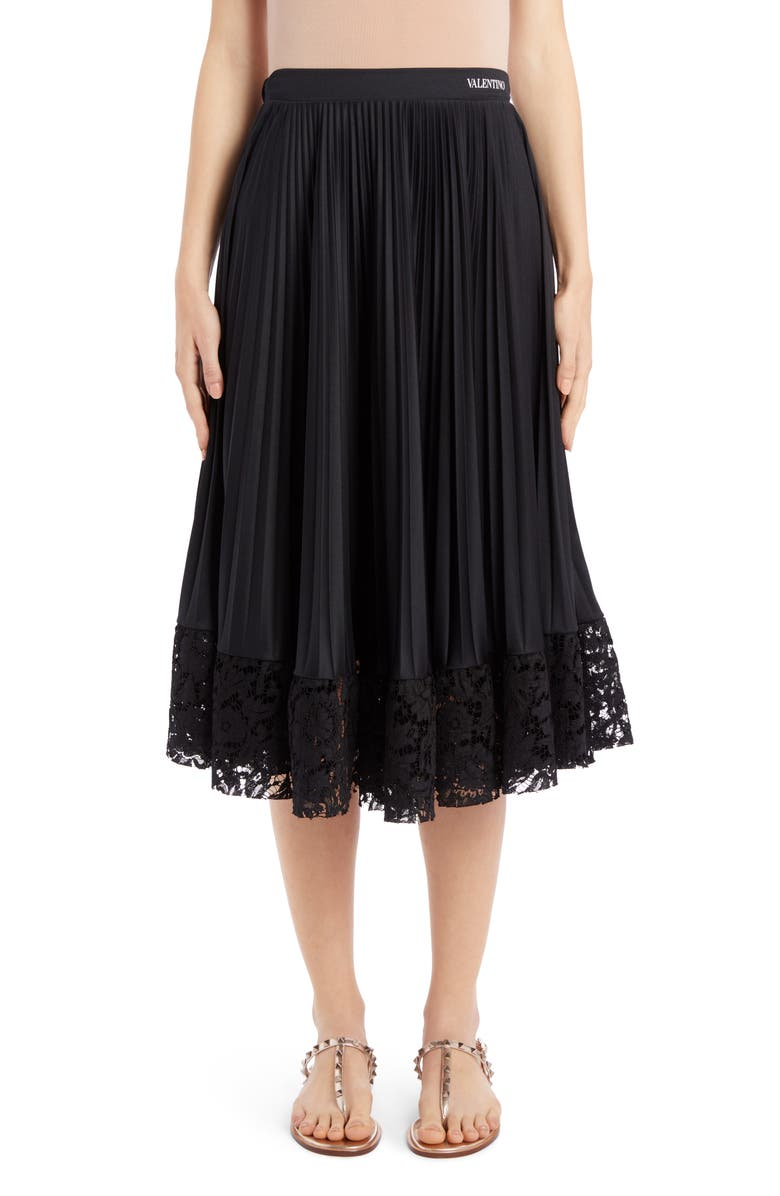 VALENTINO Lace Hem Pleated Midi Skirt, Main, color, NERO
