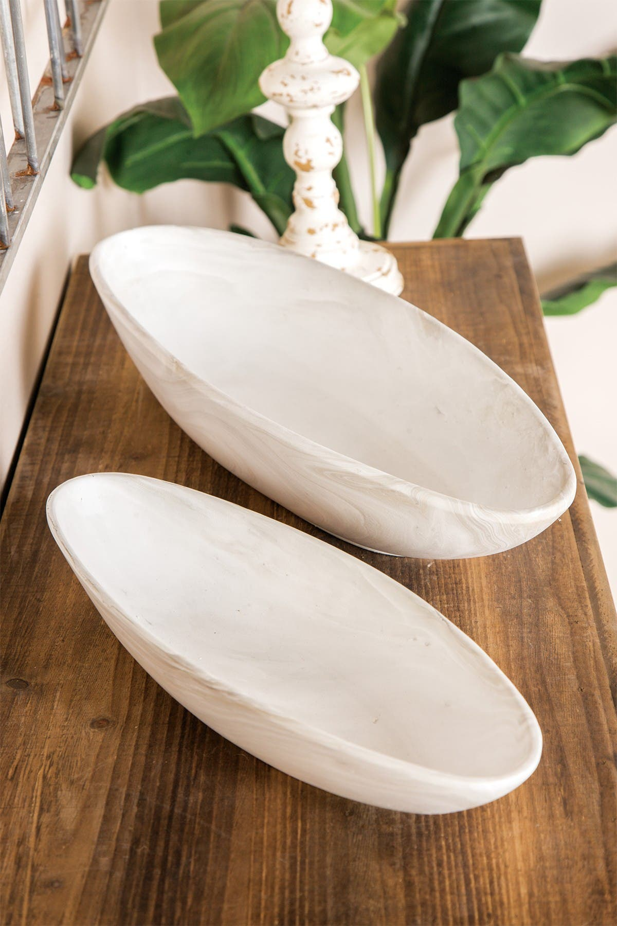 Image of CosmoLiving by Cosmopolitan Country Cottage Style White Marble Porcelain Indoor & Outdoor Planter Tray - Set of 2