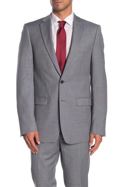 Image of Calvin Klein Solid Medium Grey Suit Suit Separates Jacket