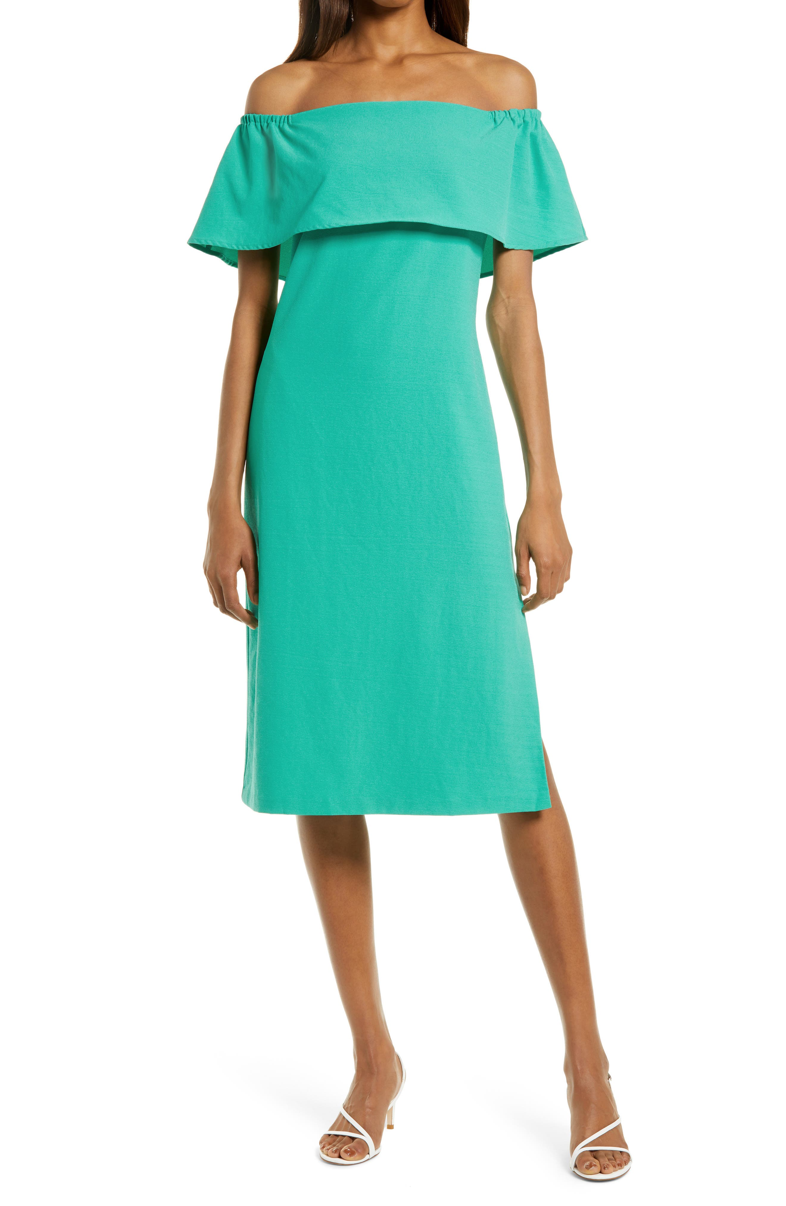 Off The Shoulder Popover Midi Dress
