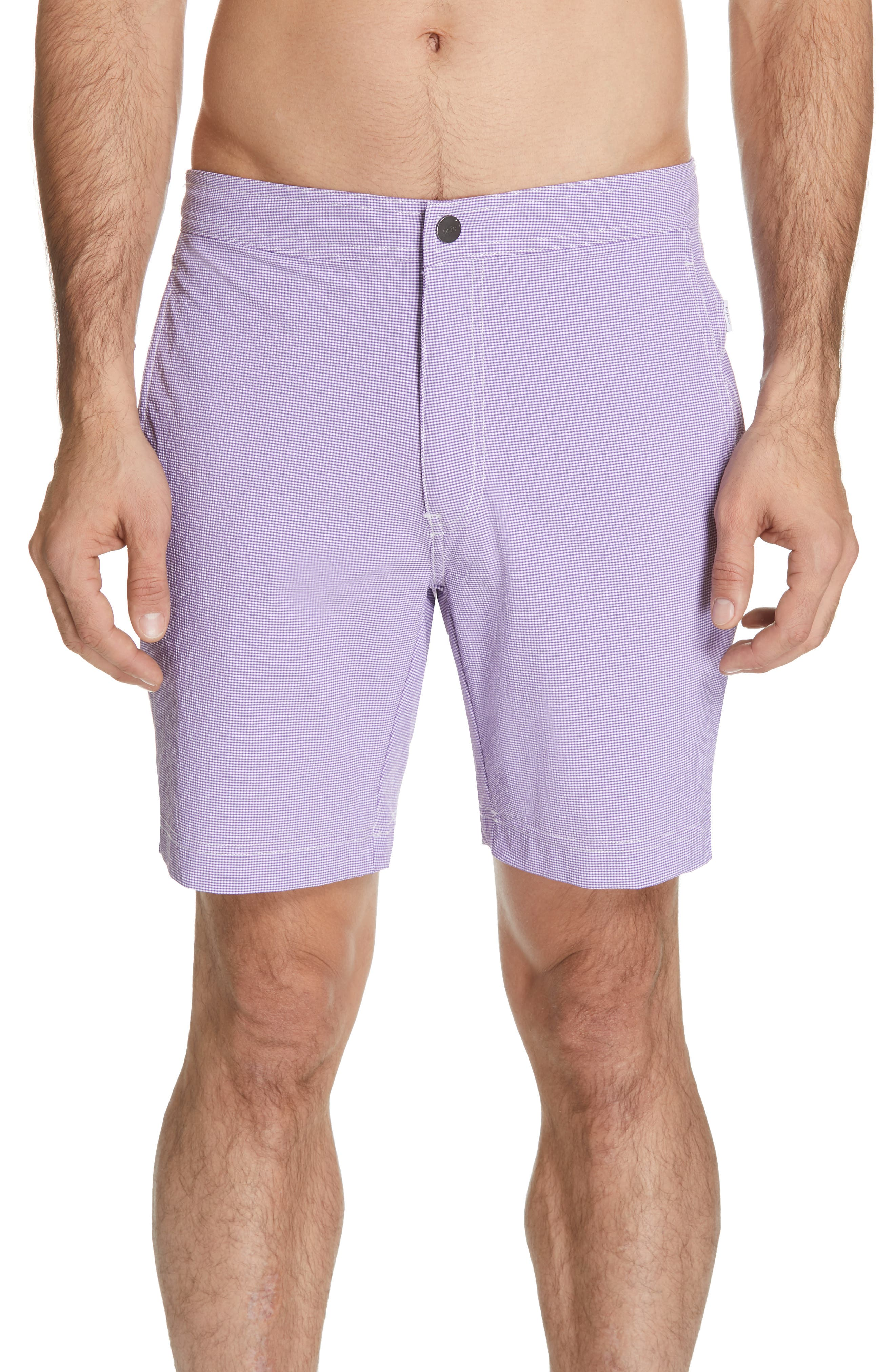 Onia Calder Gingham Swim Trunks, Purple