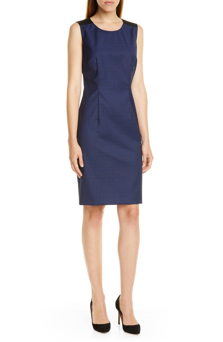 BOSS Dristie Wool Sheath Dress, Main, color, NAVY FANTASY