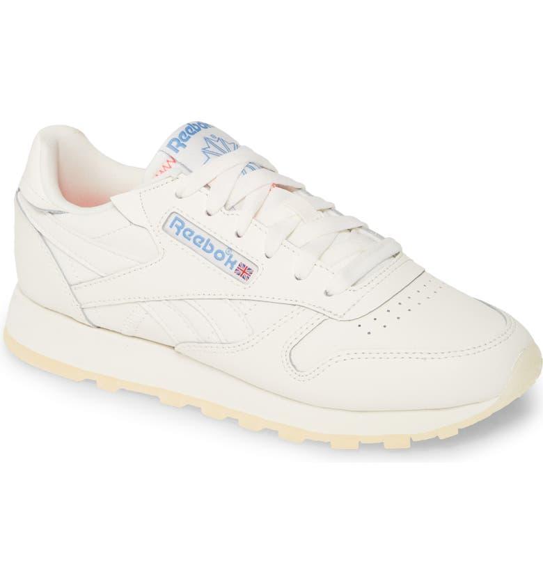 REEBOK Classic Leather Sneaker, Main, color, WHITE/ CHALK/ NONE
