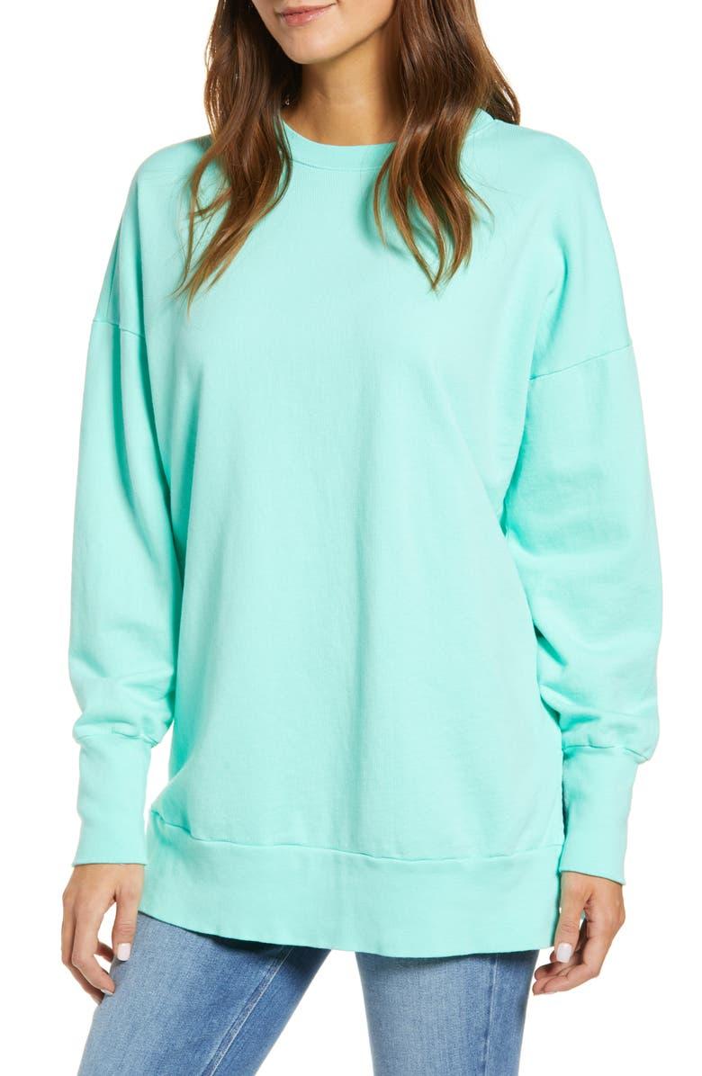 CASLON<SUP>®</SUP> Side Slit Cotton Sweatshirt, Main, color, GREEN MINT