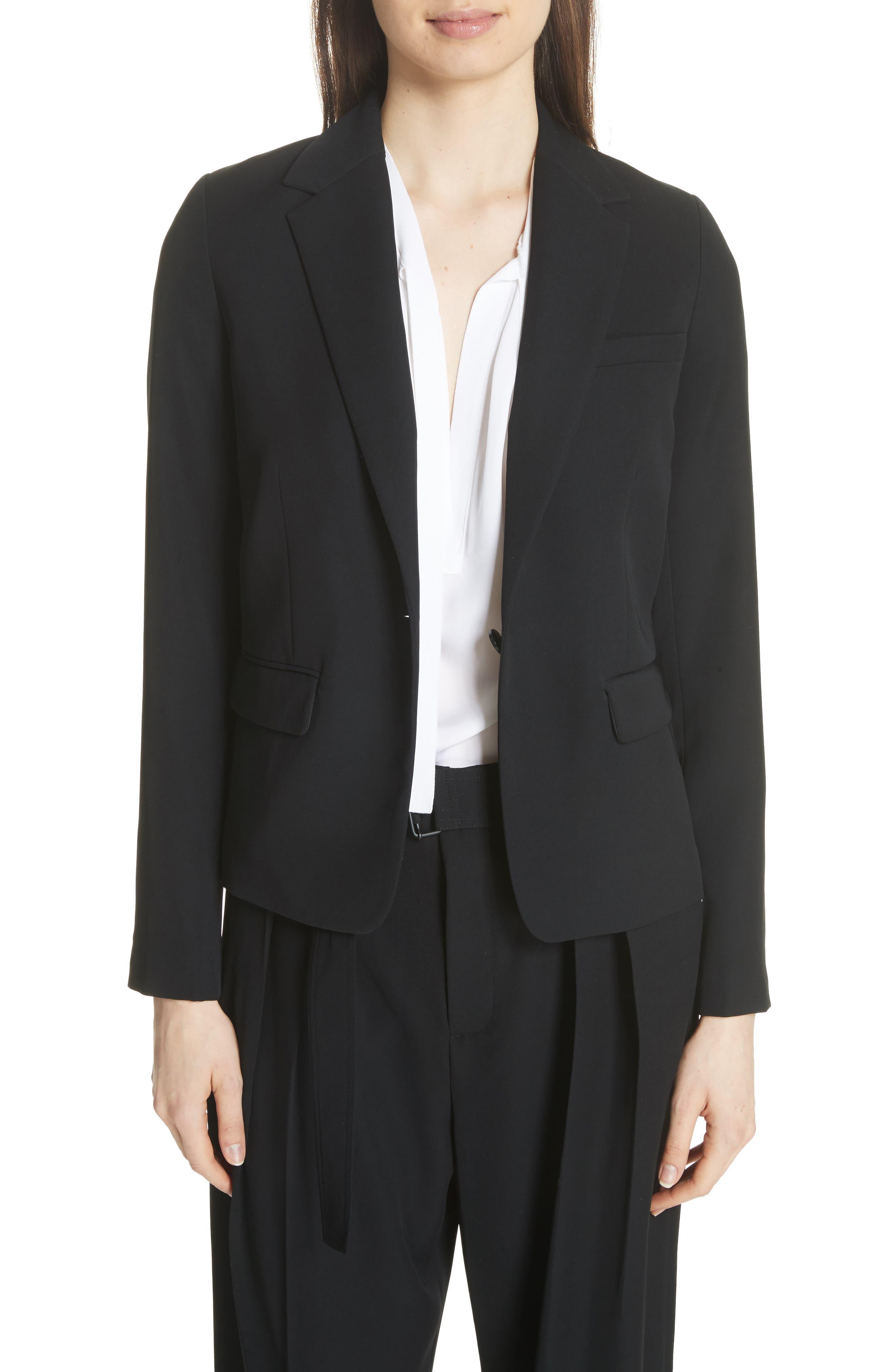 One-Button Blazer, Main, color, BLACK