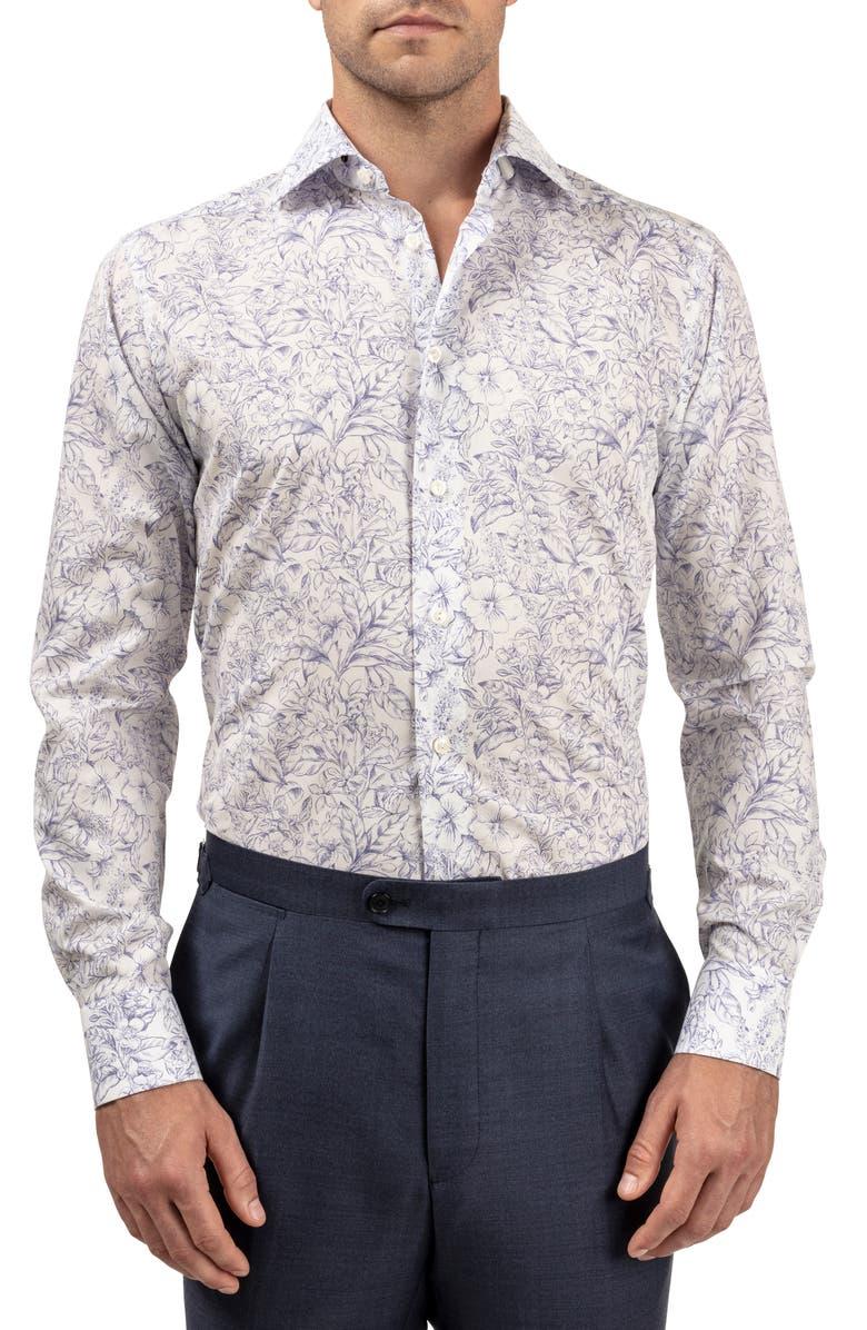 ETON Slim Fit Floral Dress Shirt, Main, color, BLUE