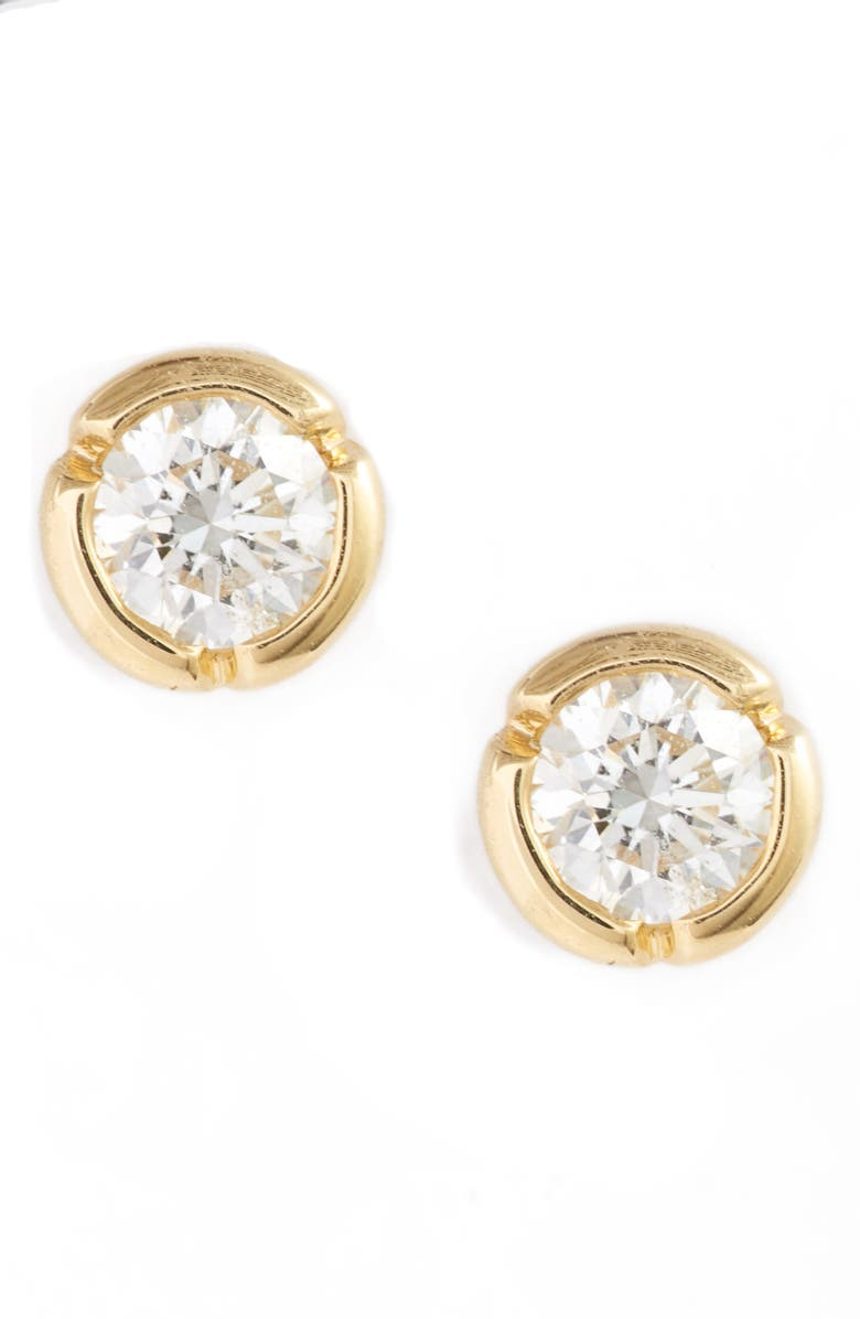 BONY LEVY Medium Bezel Diamond Stud Earrings, Main, color, YELLOW GOLD/ DIAMOND