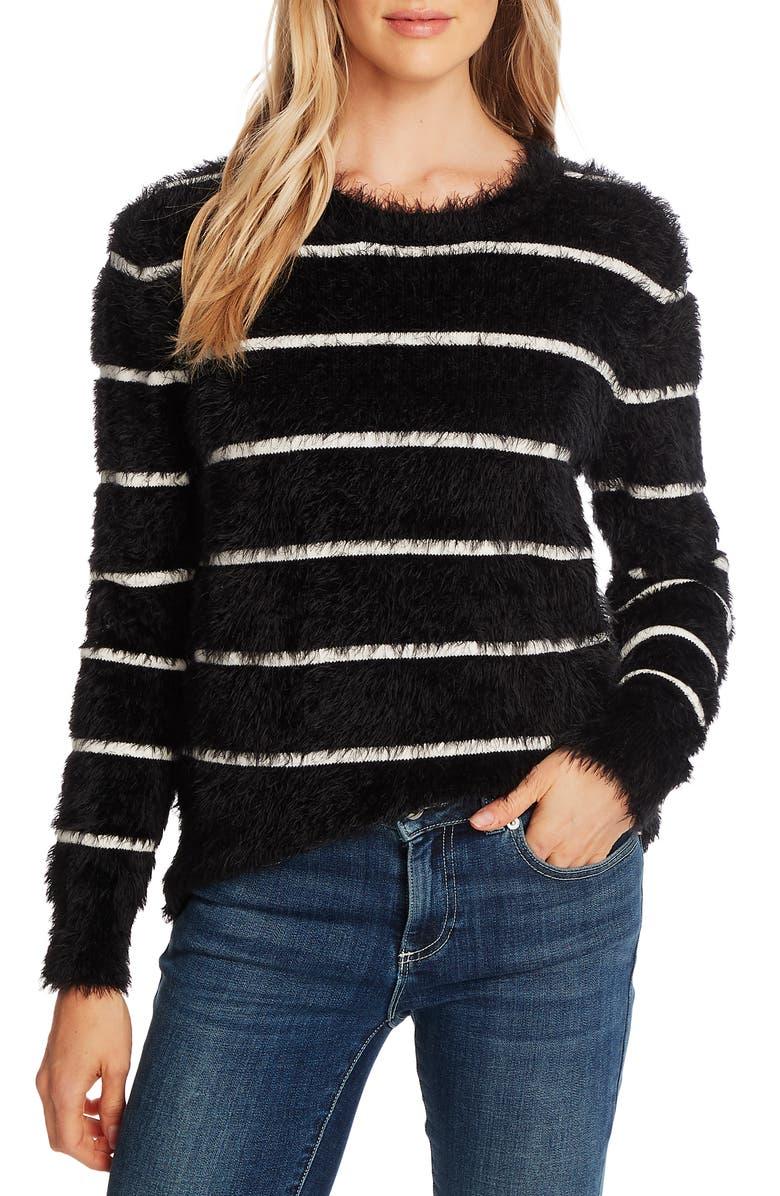 CECE Stripe Eyelash Sweater, Main, color, RICH BLACK