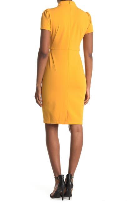 Image of Maggy London Neck Tie Short Sleeve Sheath Dress