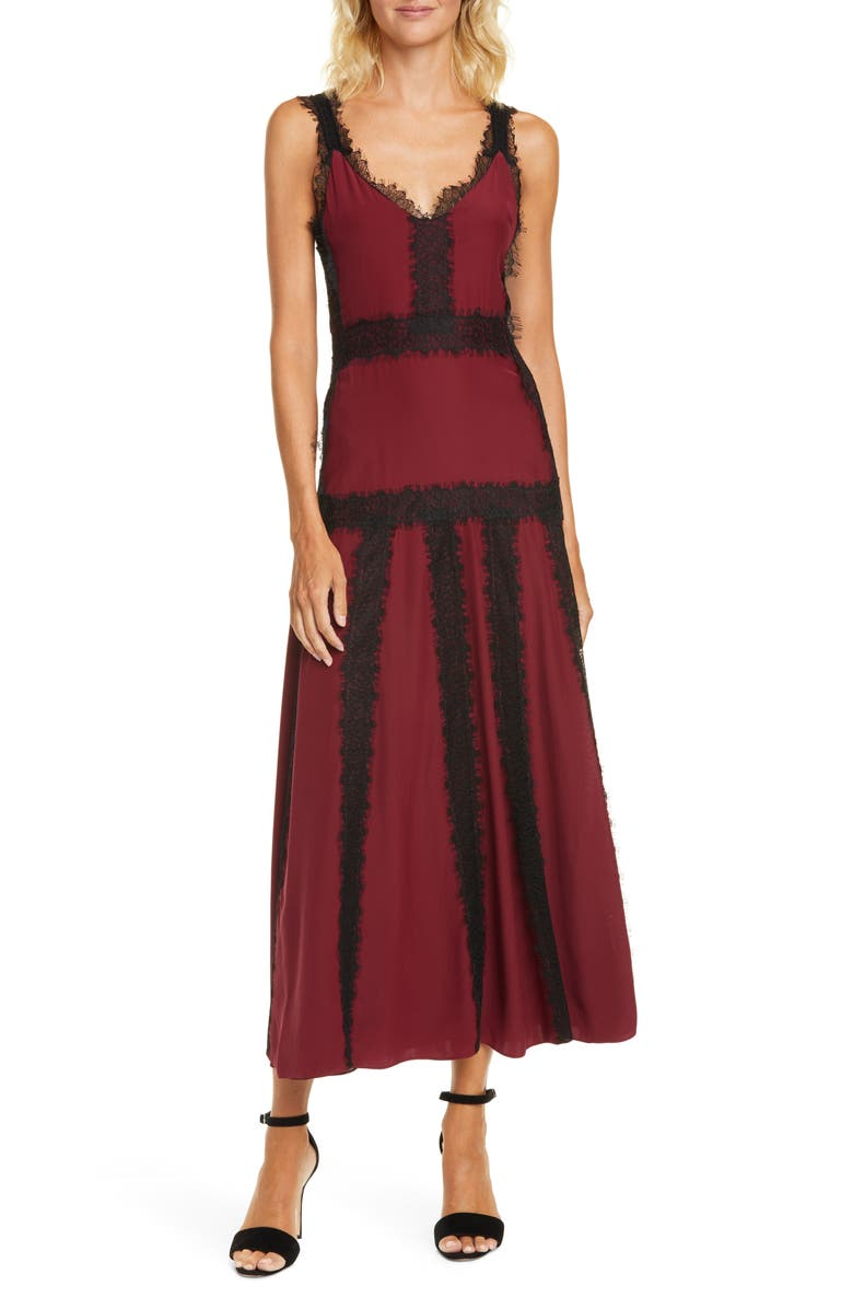 LA LIGNE Lace Inset Sleeveless Silk Maxi Dress, Main, color, BURGUNDY/ BLACK LACE