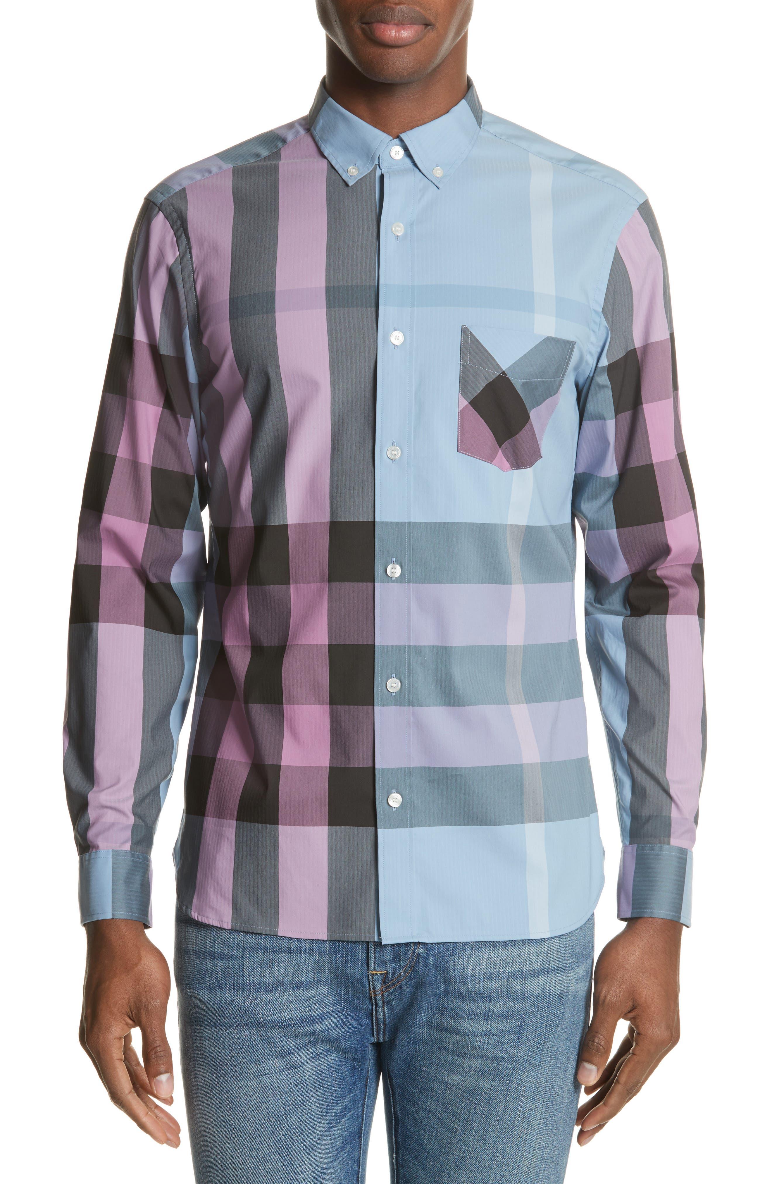 ,                             Thornaby Slim Fit Plaid Sport Shirt,                             Main thumbnail 12, color,                             405