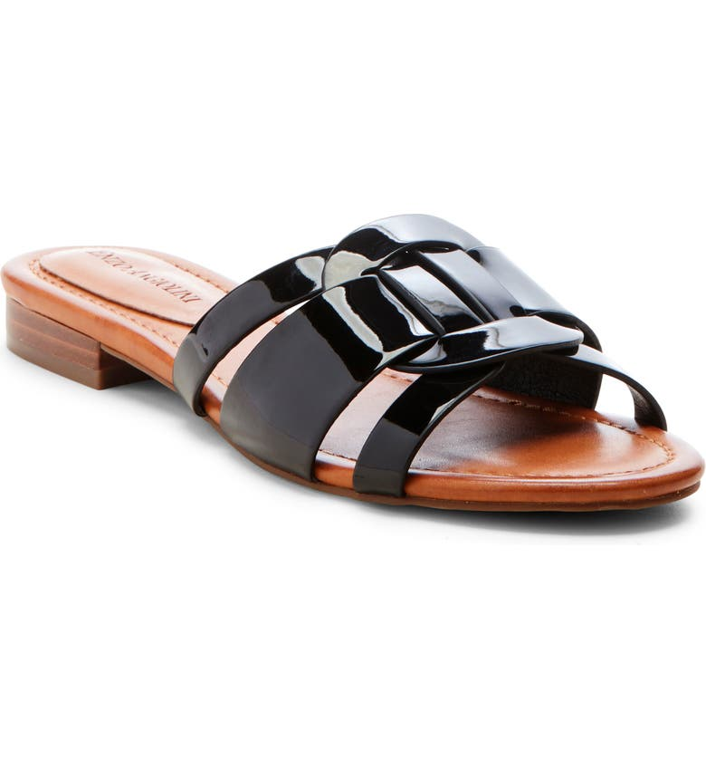 ENZO ANGIOLINI Golda Slide Sandal, Main, color, BLACK FAUX PATENT