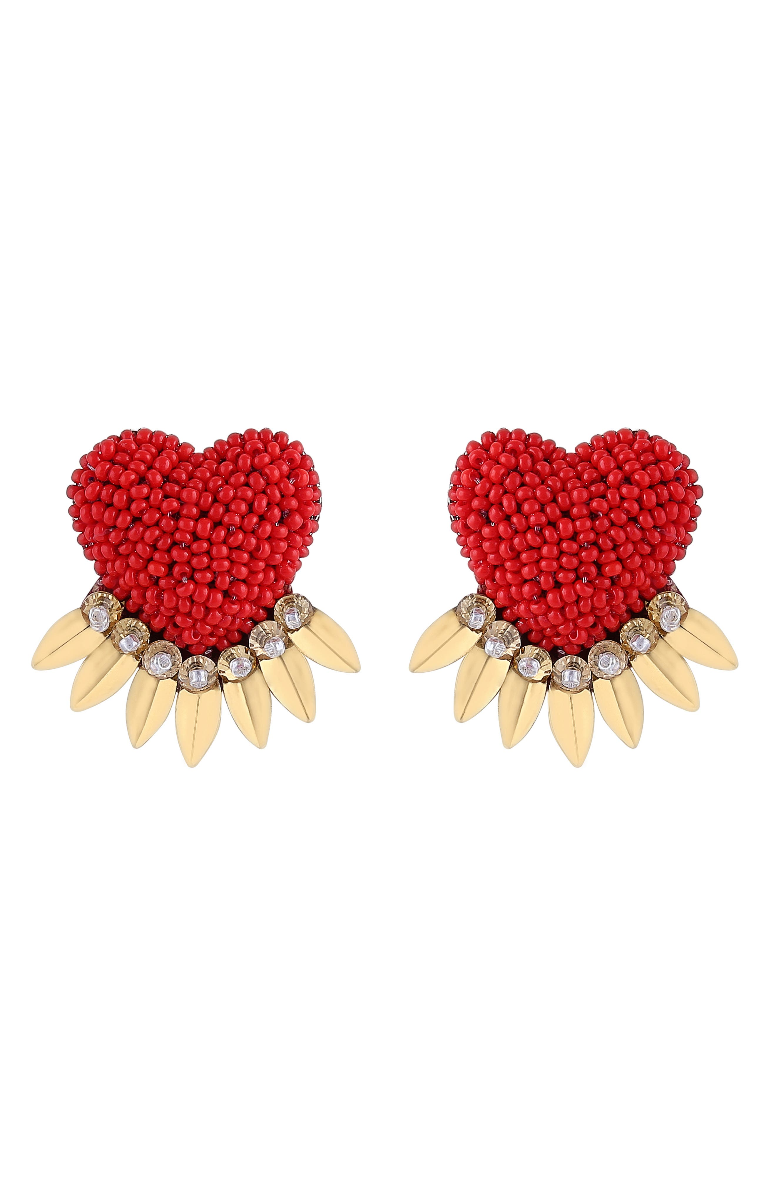 Danika Beaded Fringe Heart Earrings