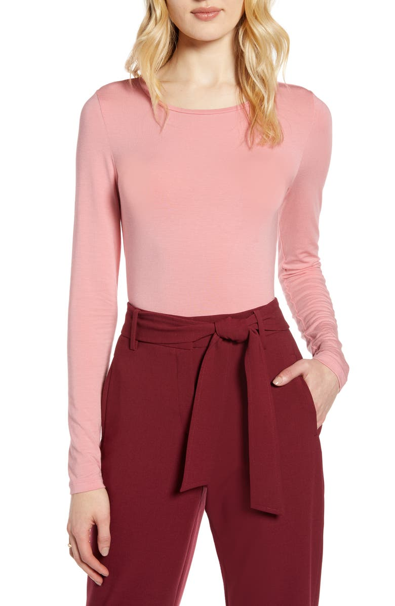 HALOGEN<SUP>®</SUP> Long Sleeve Modal Blend Tee, Main, color, PINK BRIDE