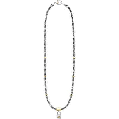 Lagos Beloved Small Lock Two-Tone Pendant Necklace