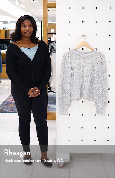 Balloon Sleeve Cable Knit Sweater, sales video thumbnail