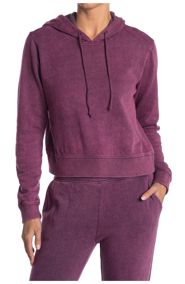 THREADS 4 THOUGHT Rose Mineral Wash Crop Hoodie, Main, color, EGP