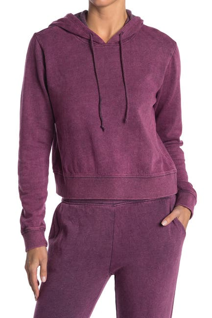 Image of Threads 4 Thought Rose Mineral Wash Crop Hoodie