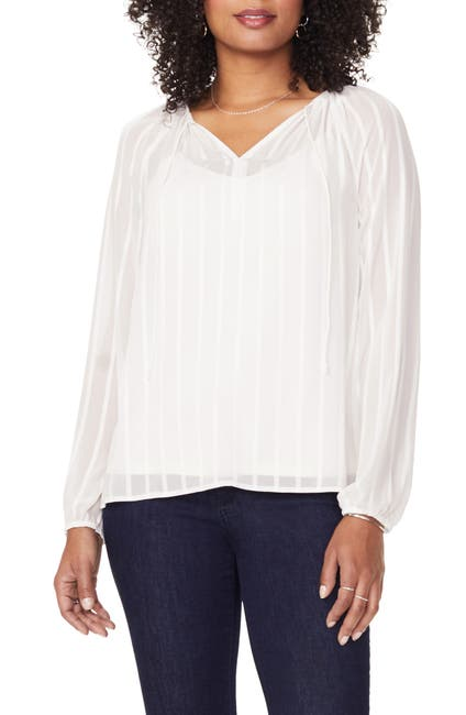 Image of NYDJ Split Neck Long Sleeve Blouse