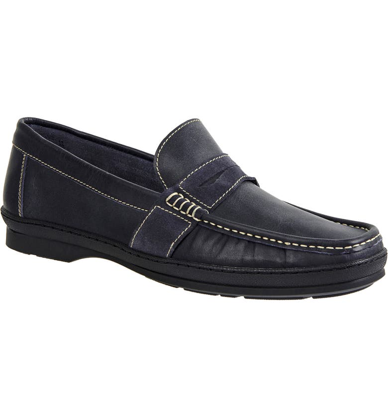 SANDRO MOSCOLONI Reid Penny Loafer, Main, color, NAVY