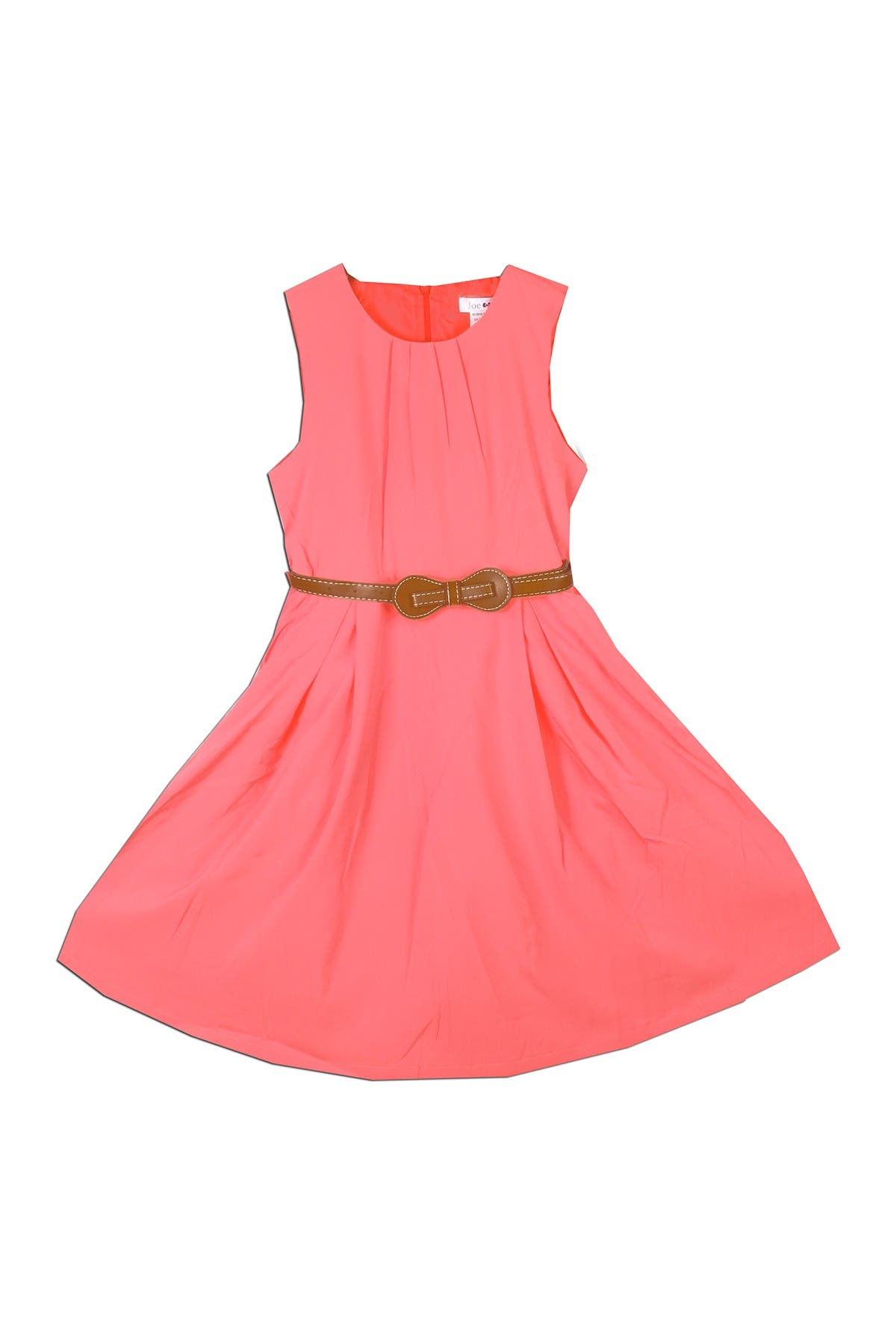 Image of Joe-Ella Dawn Belted Coral Pleated Dress