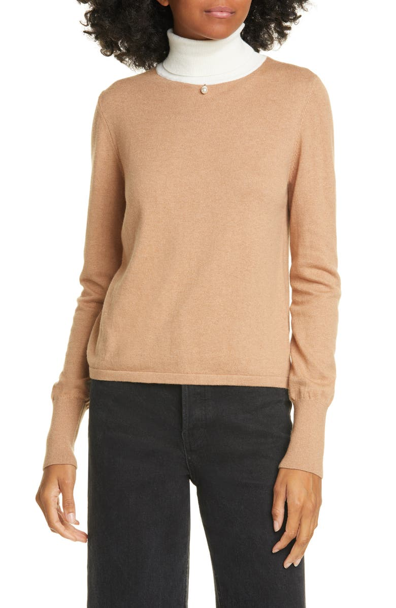 STAUD Urchin Contrast Turtleneck Sweater, Main, color, MOCHA/ EGGSHELL
